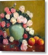 Celadon Vase With Roses And Nectarines Metal Print