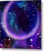 Celestial Crescent Moon Cat  Metal Print