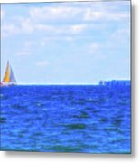 Celestial Skies Sailing The Blue Metal Print