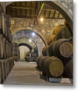 Cellar With Wine Barrels Metal Print