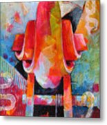 Cello Head In Blue And Red Metal Print
