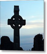 Celtic Cross At Sunset Donegal Ireland Metal Print