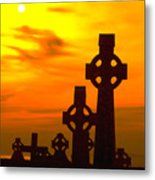 Celtic Crosses In Graveyard Metal Print