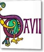 Decorative Celtic Name David Metal Print
