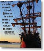 Celtic Tall Ship - El Galeon In Halifax Harbour At Sunrise Metal Print
