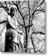 Cemetary Statue B-w Metal Print