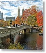 Central Park Autumn Cityscape Metal Print