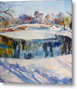 Central Park In Snow Metal Print