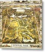 Central Park Map, Manhattan New York, 1863 Metal Print