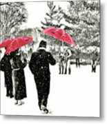 Central Park Snow And Red Umbrellas Metal Print