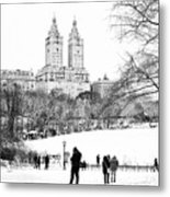 Central Park Snow Lakeside Metal Print