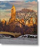 Central Parks Famous Bow Bridge Metal Print
