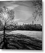 Central Park's Sheep Meadow - Bw Metal Print