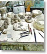 Ceramic Objects And Brushes On The Table Metal Print