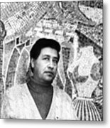 Cesar Chavez Stands In Front Of The Metal Print by Everett