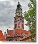 Cesky Krumlov Castle Tower In Cesky Krumlov Of The Czech Republic Metal Print