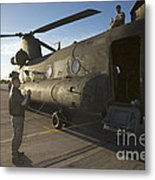 Ch-47 Chinook Crew Preparing To Load Metal Print
