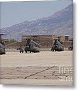 Ch-47 Chinook Helicopters On The Flight Metal Print