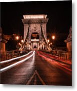 Chain Bridge At Midnight Metal Print