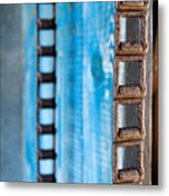 Chains And Blue Wood Metal Print