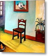 Chair And Pears Interior Metal Print by Michelle Calkins