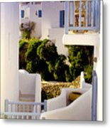 Chair On Balcony In Mykonos Metal Print