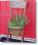 Chair Planter Metal Print