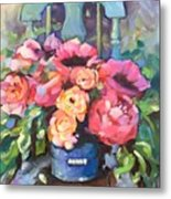 Chair With Flowers Metal Print
