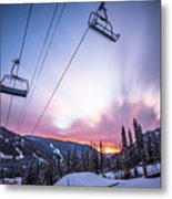 Chairlift Sunset Metal Print
