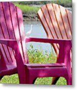 Chairs And Egret Metal Print