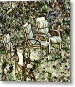 Chairs In Backyard Metal Print