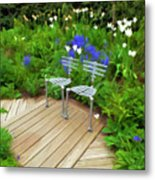 Chairs In The Garden Metal Print