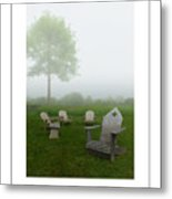 Chairs In The Mist Poster Metal Print