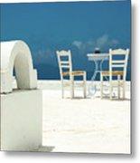 Chairs Of Santorini Metal Print