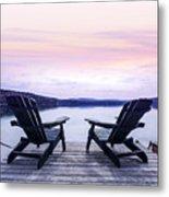 Chairs On Lake Dock Metal Print by Elena Elisseeva