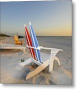 Chairs On The Beach Metal Print