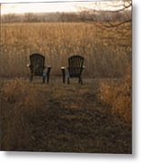 Chairs Overlook A Scenic Pasture Metal Print