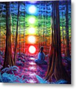 Chakra Meditation In The Redwoods Metal Print