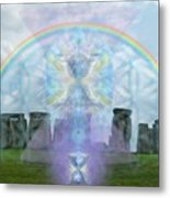 Chalice Over Stonehenge In Flower Of Life Metal Print