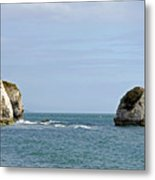 Chalk Cliffs At Freshwater Bay Metal Print