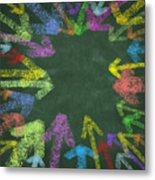 Chalk Drawing Colorful Arrows Metal Print