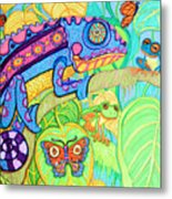 Chamelion And Rainforest Frogs Metal Print