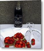 Champagne Bottle With Strawberry Tarts And 2 Glasses Metal Print