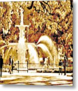 Champagne Twilight Forsyth Park Fountain In Savannah Georgia Usa  Metal Print