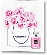 Chanel Bag With Pink Peonys Metal Print