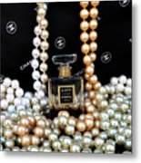 Chanel Coco With Pearls Metal Print