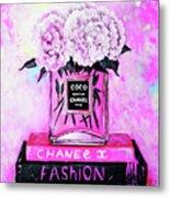 Chanel Perfume With Peony Metal Print