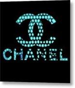 Chanel Light Blue Points Metal Print
