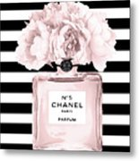 Chanel N.5, Black And White Stripes Metal Print