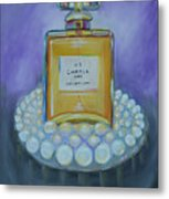 Chanel No 5 With Pearls Painting Metal Print